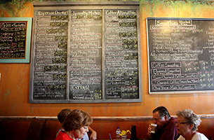 Menu wall at Mocha Monkey, Waconia, MN